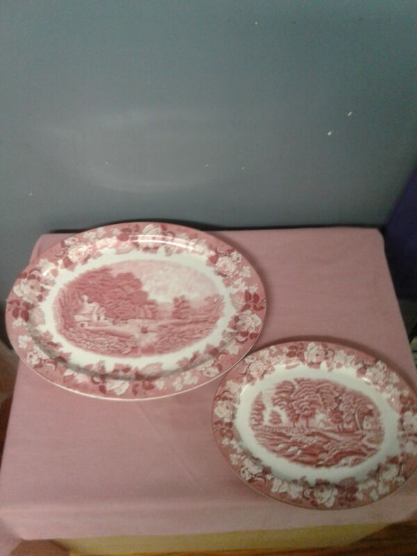 Enoch woods english scenery Pink Serving Dishes Set Of 2