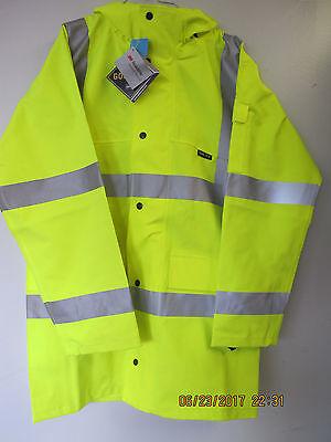 NIELSEN CLOTHING HI-VISABILITY YELLOW RAIN COAT, GORE-TEX, 3M SCOTCHLITE, SMALL