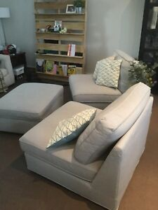 Ikea Kivik one seater sofa/chairs with ottoman and 3 pillows