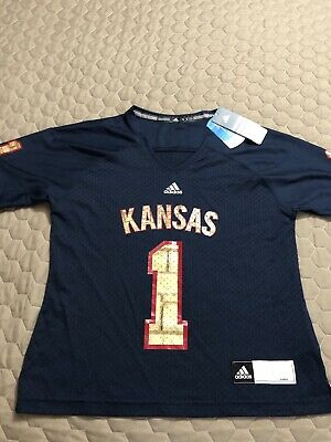 Kansas Jayhawks Adidas Women's Football Jersey Medium Nwt # 1 - Adidas Kansas Jayhawks Football Jersey