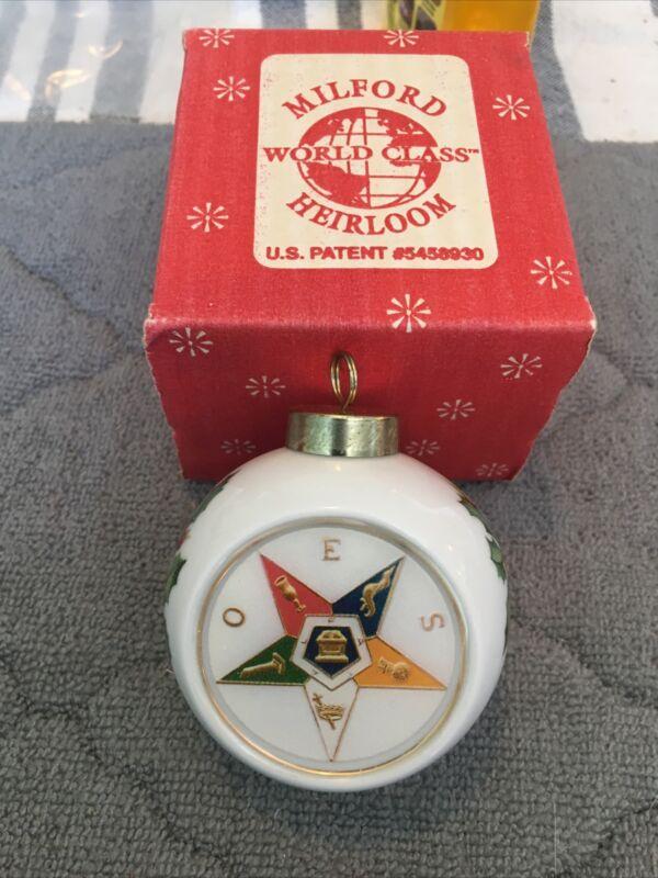 Porcelain Christmas Ornament 1999 Noel Order Of The Eastern Star Masonic