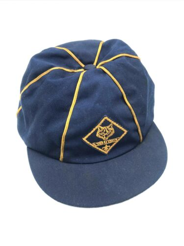 VTG Official BSA Boy Cub Scout Uniform Blue and Gold Beanie Cap Hat