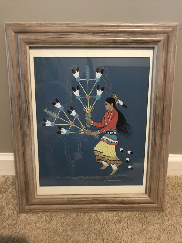 HARRISON BEGAY NATIVE AMERICAN INDIAN NAVAJO FEATHER DANCER SILKSCREEN PRINT