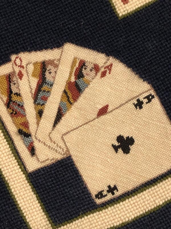 Vintage Needlepoint PetitPoint 32x31 Gambling Poker Horse Racing Dice Dog Racing