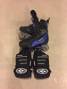 Roller blades and hockey gloves