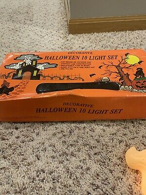 Vintage Halloween String of GHOST/SKELETON Blow Mold 10 Light Set- Double Sided