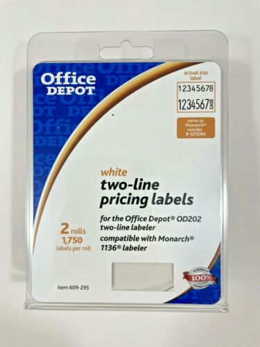 Office Depot White Two-line Pricing Labels - 2 Rolls Monarch 1136, Free Shipping