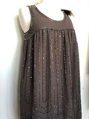 Brand New ICHI EUR 38 / UK 10 12 Taupe Bejewelled 1920s Great Gatsby Dress