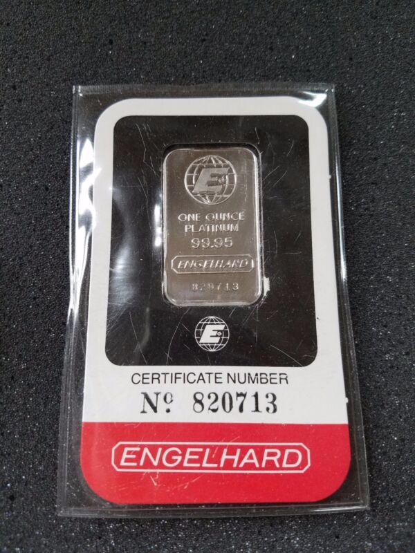 1oz Platinum bar bullion Engelhard in assay