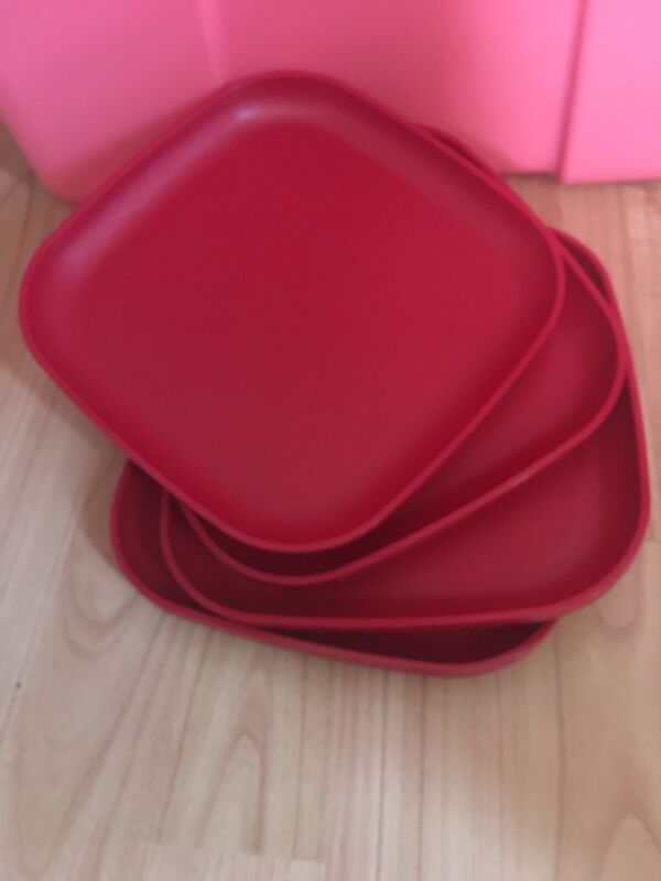 TUPPERWARE 8 X 8 INCH PLATES lip Cherry RED-NEW-Kids Elderly & Vision Impaired