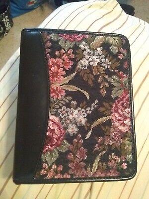 Vintage Franklin Quest Black Flower Desig Leather Pocket Planner 58 6-ring Usa