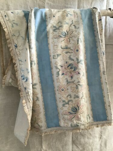 Pair Antique French 19th century  Blue Stripe  cotton printed Curtain panels