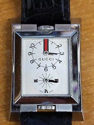 Gucci 111 Guccio Dual Time Mens Black Alligator Leather Band Watch YA111304
