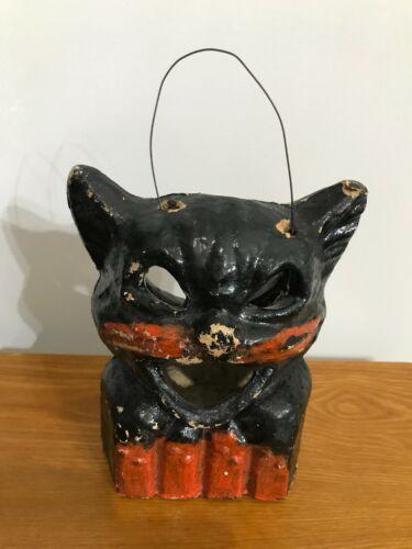 Vintage ANTIQUE Paper Mache Halloween Black Cat on Fence Lantern 8 INCHES HIGH