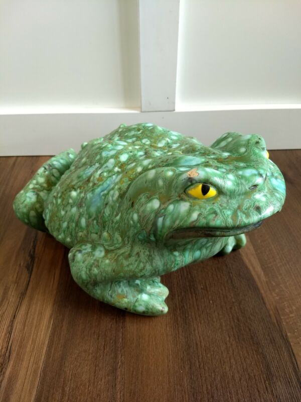 Vintage Ceramic Frog Toad Glazed Extra Large Garden Yard Figurine Green Yellow