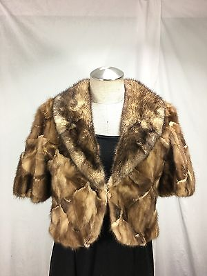 TOP FASHION 100% REAL AMERICAN WHISKY MINK LADY CROPPED FUR CAPE  FREE SHIPPING