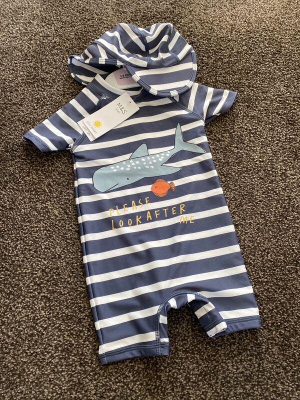 M&S Baby Boy Swim Set 3-6 Months Blue And White With Hat BNWT