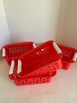 Plastic Baskets With Handles (4-Pack Organizer Red Plastic Slotted Baskets with Handles, 11