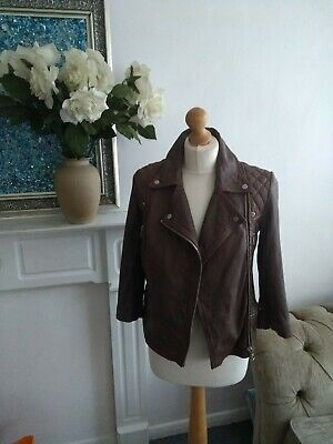 All Saints Limited Edition Cropped Cargo Biker Leather Jacket. Brown, Size 8