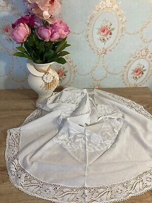 Vintage Round White Embroidered Linen Table Cloth With Lace Edge- 116cm Diameter