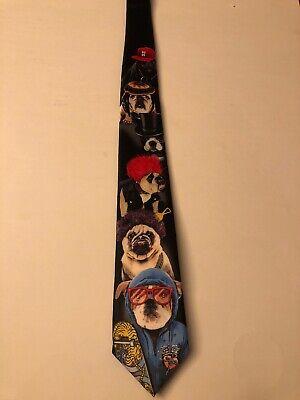 Mens Tie  Bull Dog English, Pug, French Bulldog Dressed  Animal Black Neck -