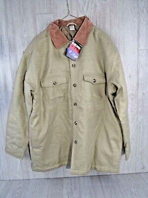 Marlboro Gear VTG 90s Jacket Shirt Beige Insulated Coat Front Pockets  Size L