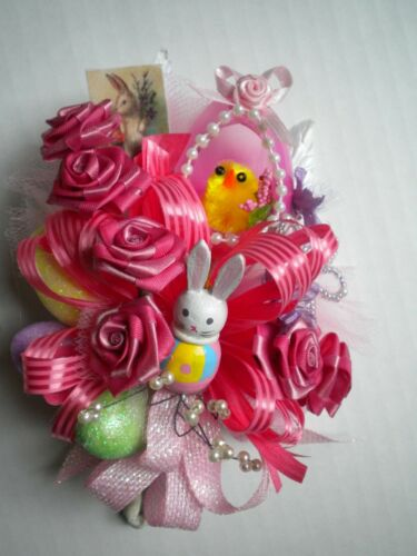 Vintage Handmade EASTER Corsage Pink Diorama Panoramic Chick Egg Millinery #2