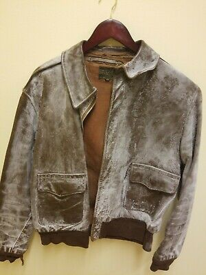 Vintage US Army AAF WW2 ROUGH WEAR A-2 LEATHER FLIGHT JACKET, USED