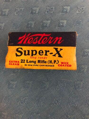 Western Super-X Long Range 22 Long Range Rifle Bullets Vintage Empty Box