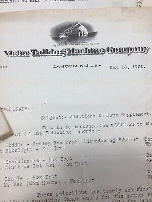 Lot Of 5 1921 - Victor Talking Machine - Camden, NJ Letterhead And Letters