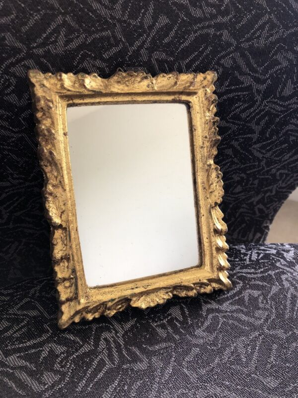 Vintage Florentia Italy Small Mirror Gold Leaf Florentine
