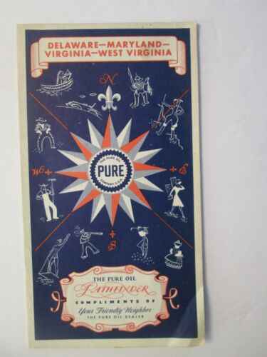 Pure Oil Map of Delaware Maryland Virginia West Virginia 1941