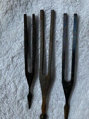 3 X ANTIQUE STEEL TUNING FORKS