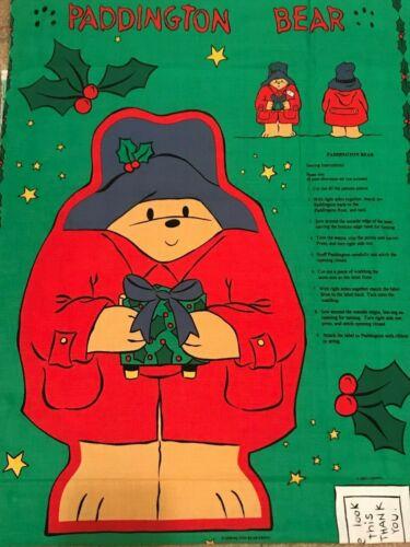 Paddington Bear Fabric Cut Sew Panel Applique 1999 Stuffed Doll Pillow Christmas
