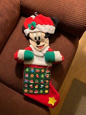 VTG Disney Mickey Mouse Stocking Christmas Advent Calendar Talking Plush