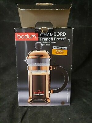 Bodum Chambord French Press Coffee Maker, Stainless Steel, Glass, 12 Ounce/3