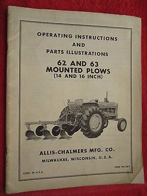 Vintage Allis Chalmers 62 63 Series Mounted Plow Operating Parts Manual