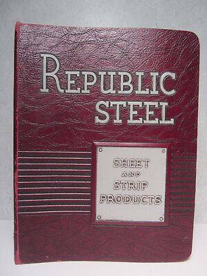 Vintage Republic Steel - Sheet And Strip Products Binder - Raised Lettering
