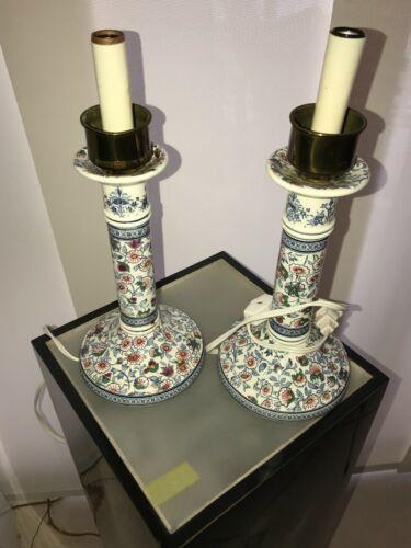 "Gien France Pair Floral Porcelain Candlestick Lamps 12"""