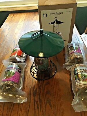 Pine Tree Farms Timeless Seed Log Hanging Bird Feeder + 4 cylinder seed cakes NEW