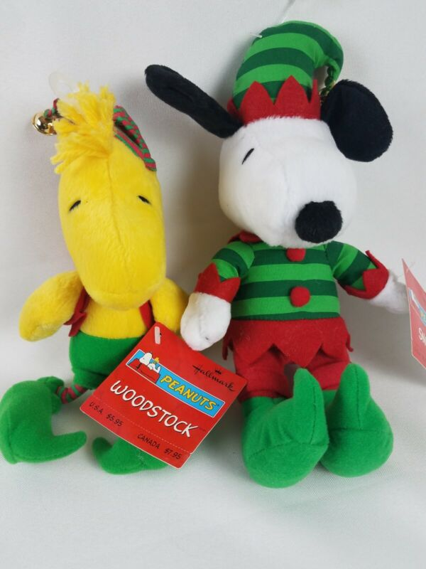 "Hallmark Peanuts Snoopy Woodstock Christmas Elf Jingle Bell Plush NWT 9"""