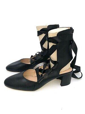 Zara Negro Tacón Encaje Zapatos Sandalias Bailarinas UK8 EUR41 US10