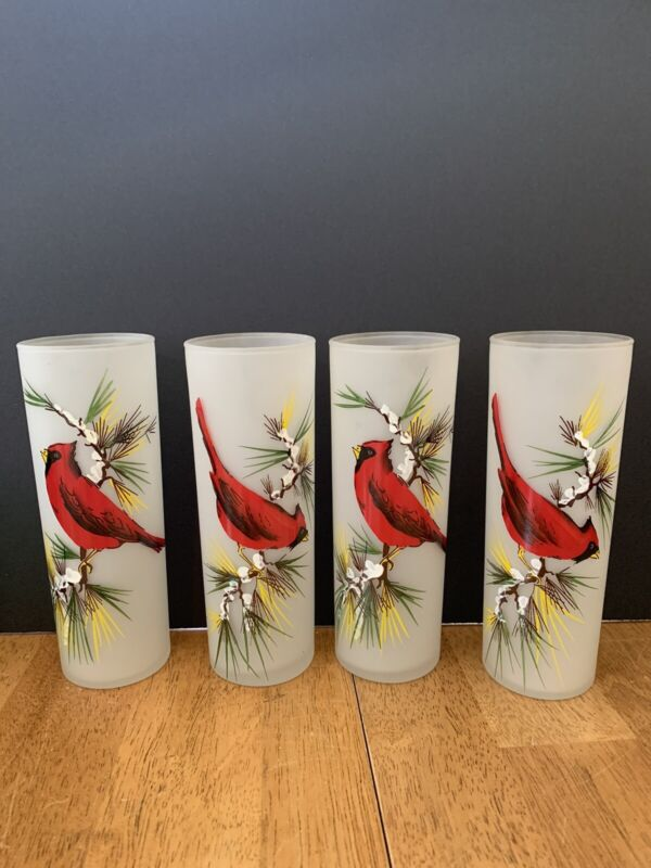 Vintage Federal Glass Frosted Tumblers Hand Painted Cardinals MCM Set of 4