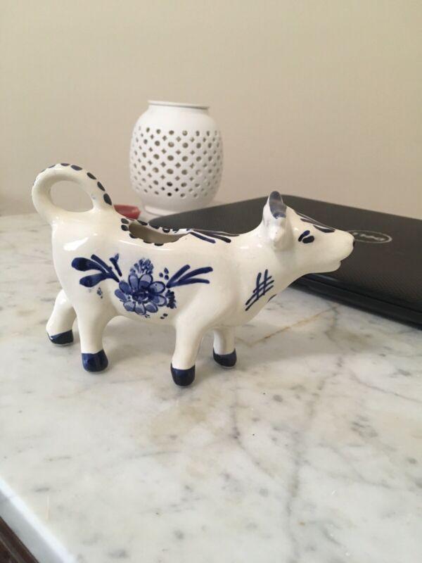 Vintage Delft Blue & White Cow Creamer Hand Painted Mint