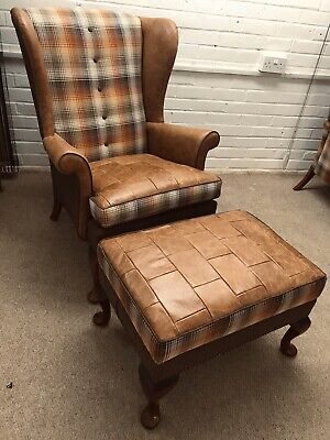 Parker Knoll Wing Back Chair with  Footstool newly Upholstered in Leather+Tartan