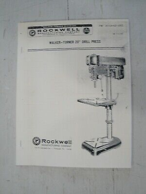 Rockwell Delta 20 Walker-turner Drill Press Operating Instructionsparts Manual