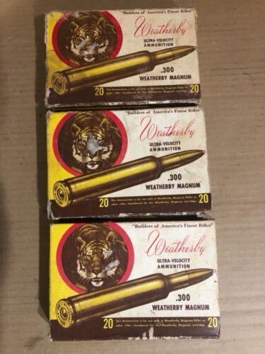 Vintage Lot of 3 Weatherby (Tiger) Box 300 W.M. 150 Soft Point-no brass