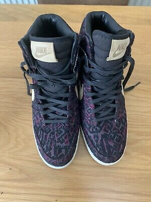 Nike 585560-001 Dunk Sky Hi Prem Linen Purple Tribal Wedge Sneakers