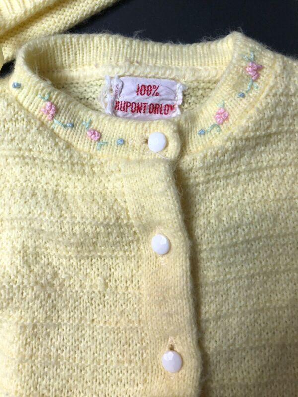 Vintage Baby Sweater Set Hand Knitted Dress Bonnet Booties Yellow Embroidered