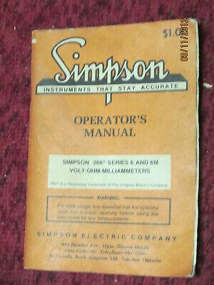 Simpson Operators Manual 260 Series 6 And 6m
